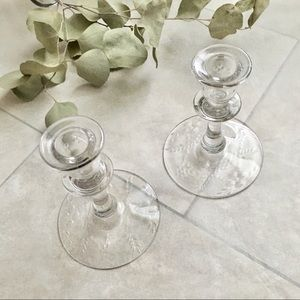 LP Vintage 90s Glass Candlesticks Floral Etching